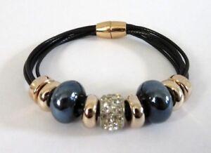 LOVELY Six Strand Black Faux Leather Bracelet European Charms 20cms