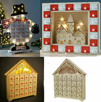 Pre-Lit White Wooden Village Scene Advent Calendar Christmas Decoration Kids