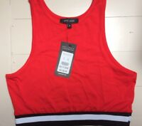 Ladies Crop Top Size 8 Sleeveless Vest New With Tags Red New Look BNWT Gym