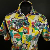 Mens Vintage Retro Shirt SMALL Short Sleeve Regular Fit Abstract Cotton 80s 90s