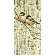 Counted Cross Stitch Love Birds Chickadees, Personalize Trees w/  your Initials