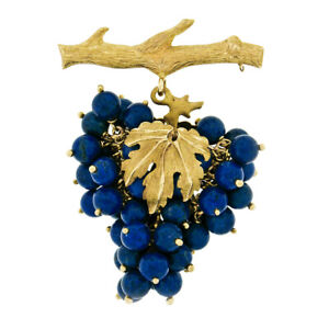 Chiampesan 14k Gold Mobile Round Lapis Bead Large Grape Cluster Badge Pin Brooch