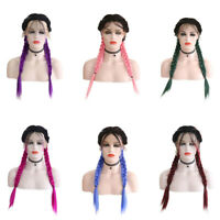 Ombre Two Long Braids Wigs Synthetic 2X Braided Lace Front Wigs Baby Hair Wigs