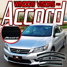 13-17 Honda Accord CR 4 Door Window Visors with Logo - Guard Rain Deflector Vent