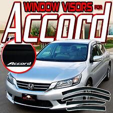 13-17 Honda Accord CR 4 Door Window Visors with Logo - Guard Rain Deflector Vent
