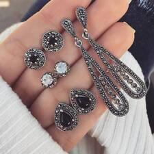 Vintage 4 Pairs Black Crystal Waterdrop Stud Earrings for Women Jewelry Gift