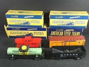 4 Vtg 1947 AMERICAN FLYER 638 Chemical Northern Pacific Wabash CARS & Boxes