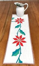 Christmas Holiday! Red Poinsettia Table QUILT Runner Applique Vintage 32 x 10