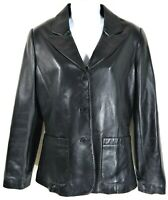 VS2 Women's Black Leather Jacket Blazer Style Moto Womens Size M Medium