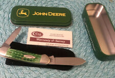 Nos 62131 Ss Case Xx Canoe Knife Green Jigged Bone 2 Blade Knife -John Deere Tin
