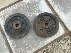 2 x 5kg Spur Barbell Cast Iron Weight Plates For 1 Inch Bars