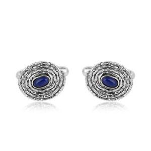 Handmade Twisted Wire Design Lapis Mens Cufflinks 925 Silver Oxidized Jewelry