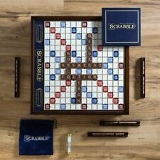 NEW Scrabble Deluxe Edition with Rotating Wooden Game Board Turntable