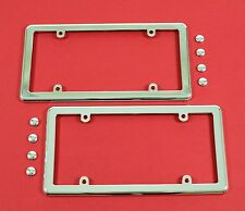 Two Chrome License Plate Frames + 8 Chrome Screw Caps for Cars
