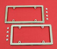 Two Chrome License Plate Frames + 8 Chrome Screw Caps for Cars