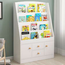 Children Bookcase Kids Display Bookshelf Storage Unit Shelving Wooden Rack White