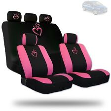Deluxe Pink Heart Car Seat Covers and Headrest Covers Gift Set For Mazda