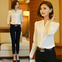 Women Elegant Formal Work Wear Office Shirt Short Sleeve Slim Blouse V Neck Top