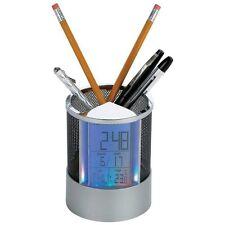 Desktop PEN HOLDER Alarm CLOCK Calender Thermometer LED Color Light Organizer