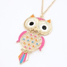 Gold Pink Orange Blue Quirky Kitsch Owl Costume Jewellery Necklace
