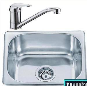 Small 1.0 Bowl Stainless Steel Kitchen Sink & Chrome Sink Mixer Tap Set (KST043)