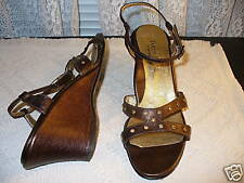 TARYN ROSE BRONZE CRYSTAL WEDGE SANDALS SHOES SZ 40 9