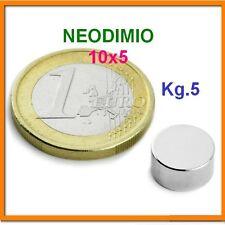5 Pezzi NEODIMIO MAGNETE Disco 10X5 mm. 5 KG. N 42 CALAMITA CALAMITE MAGNETI
