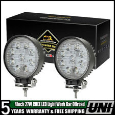 2X 4inch 27W + Mounts Led Work Light Off-road For Jeep SUV Round Spot Light