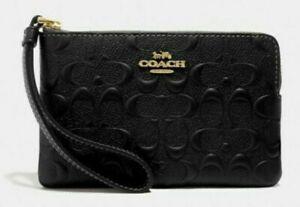 COACH Corner Zip Wristlet In Signature Leather Black F67555 - NWTS