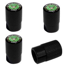 4 Black Billet Knurled Tire Wheel Valve Caps Car Truck BALD EAGLE US ARMY BK007