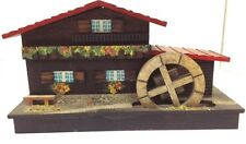 Vintage Wooden Chalet House Music Box with Water Wheel. Works