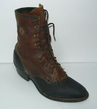 Vintage Black/Brown Leather Lace Up Work Boot 5.5