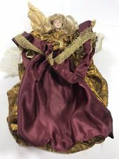Christmas Tree Topper Angel Gold Maroon Shimmer Bendable Holiday Decoration