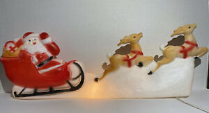 Rare Vintage 1950s Mid Century Reindeer & Santa Blow Mold Christmas Yard Decor