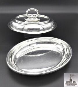 HEAVY ART DECO OVAL WALKER & HALL SERVING DISH TUREEN TWIN HANDLE SILVER PLATE