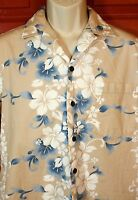 RJC Hawaiian Camp Shirt Size Medium Tan with Blue & White Hibiscus Flowers (EUC)