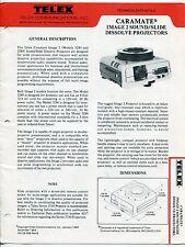 "1984 ""Telex Technical Data"" Brochure - ""CARAMATE DISSOLVE PROJECTORS"""