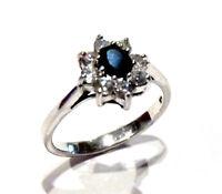 Bijou argent superbe bague pierre bleu détails oxydes taille 54 ring
