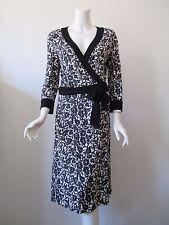 DVF DIANE von FURSTENBERG TAURUS Black Floral Prints Silk Jersey Wrap Dress 12