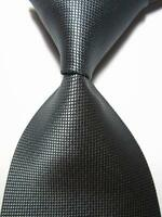 New Classic Solid Checks Dark Grey JACQUARD WOVEN 100% Silk Men's Tie Necktie