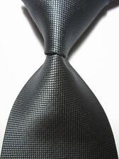 New Classic Solid Checks Dark Grey JACQUARD WOVEN 100% Silk Men's Tie Necktie
