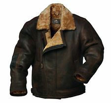 fur collar aviator bomber cafe racer top upper winter leather jacket for men