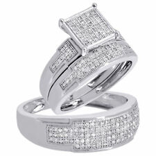 Diamond Trio Set Engagement Ring 10k White Gold Round Pave Wedding Band 1/2 Ct.