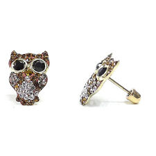 14k Solid Gold Owl Pave Brown Cubic Zirconia Screwed Back Stud Earrings ON SALE
