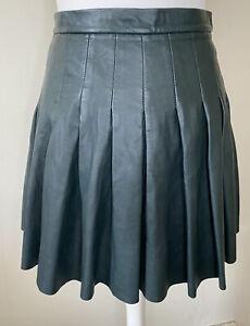 All Saints Dark Green 100% Leather Pleated Mini 'Flore' Skirt Size 10