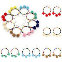 Women Earrings Pom Ball Long Bohemian Tassel Fringe Boho Dangle Earring Jewelry