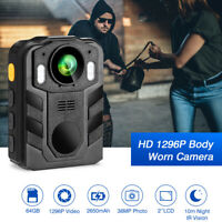 Police Body Camera 1296P HD 64G Night Vision For Police Security Guards Pocket