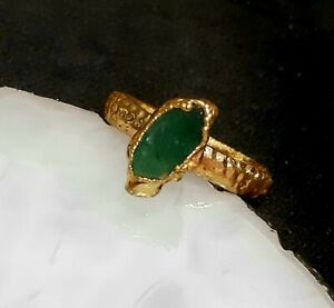 Solid sterling silver 925 Ring Gold Plated Rough Gemstone size 5,3/4 US