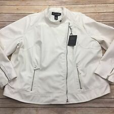 Lane Bryant Womens Moto Jacket Plus Size 22 24 Creamy White Faux Leather