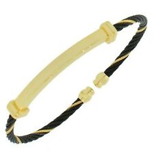 Stainless Steel Black Gold Tone Twisted Cable Open End Womens Bangle Bracelet